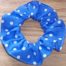 White on Bright Blue Polka Dots Dot Fabric Hair Scrunchie Ties