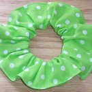 White on Bright Green Polka Dots Dot Fabric Hair Scrunchie Ties