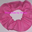 Tiny White Dots on Pink Polka Dots Dot Fabric Hair Scrunchie Ties