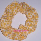 Yellow Dots on Blocks Polka  Dot Fabric Hair Scrunchie Ties