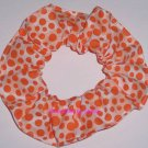 Orange Dots on Blocks Polka  Dot Fabric Hair Scrunchie Ties