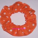White on Bright Orange Polka Dots Dot Fabric Hair Scrunchie Ties