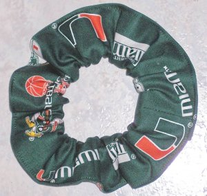 Miami Hurricanes  Green Fabric Hair Scrunchie NEW