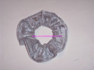 Silver Panne Velvet Fabric Hair Scrunchies Scrunchie