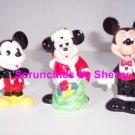 3 Walt Disney Vintage Mickey Mouse Santa Ceramic Figurine
