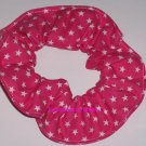 Hot Pink Stars all Over Fabric Hair Scrunchie Scrunchies