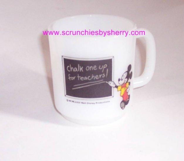 Disney Mickey Mouse Coffee Mug  Milk Glass Teachers