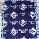 Tampa Bay Rays Blanket Baseball Hand Tied Blue Fleece Baby Pet Lap MLB Shower
