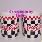 2  Coke Coca Cola Coffee Mug Checkered Coffee Mugs Cup Tea Vintage 1996 Retired