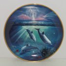 Storm of the Dolphins Collector Plate Franklin Mint Ocean Water Blue Lightning
