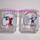 2 Disney Mickey Mouse Glass Coffee Tea Mugs Fantasia Steamboat Willie Vintage