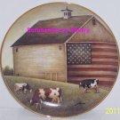 American Folk Art Collector Plate Proud Pasture USA Flag Barn Franklin Mint
