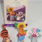 Disney Winnie Pooh Piglet Tigger Hallmark Ornament Mini Set 1998 Garden 1998
