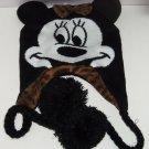 Disney Minnie Mouse Hat Hoodie Knit Fleece Winter Pom Poms Animal Print Bow