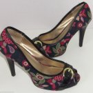 "Delicious Ladies Shoes Navy Blue Floral Black Peek Toe  4"" Heels Size 8 M"