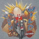 Harley Davidson T-Shirt Born Wild Chicago Gray Motorcycles Looney Tunes XL