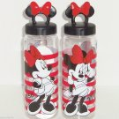 Disney Store Minnie Mouse Water Bottle Plastic Striped Leak Proof Great Gift New