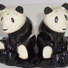 Giant Panda Bears Salt Peppers Shakers Stand Animal Collectible Vintage Japan