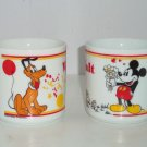 2 Walt Disney Productions Mickey Minnie Mouse Pluto Coffee Mug Vintage WALT Cup