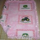 John Deere Pink Roses are Red Tractors Hand Tied Fleece Baby Pet Dog Blanket Lap