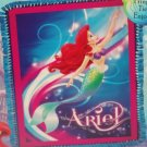 Disney Princess Ariel Micro Fleece Blanket Little Mermaid Hand Tied Teal Purple