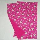2 Hello Kitty Burp Cloth Baby Girl Hot Pink Feeding Shower Gift Choose Fabric