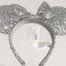 Disney Minnie Mouse Ears  Headband  Silver Sequins Bow Theme Parks NWTS