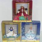 3 Disney Belle Snow White Cinderella Holiday Princess Collection Vintage NIB