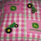 John Deere Pink Fleece Blanket Tractors Gingham Green Baby Pet Lap