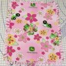 John Deere Pink Green Plaid Flowers Toss Hand Tied Fleece Baby Pet Lap Blanket