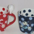 2 Disney Mickey Minnie Mouse Coffee Mug Spoon Cup Polka Dot Red Blue Theme Park