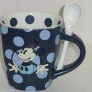 Disney Mickey Mouse Coffee Mug Spoon Cup Polka Dot Blue Theme Parks New Gift