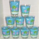 9 Pink Flamingo Blue Acrylic Glasses Barware Drinking Florida Outdoor Dining