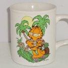 Garfield Coffee Mug Palm Tree Guitar Sun Cup Cat Enesco  1978 Ceramic Vintage