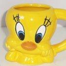 Tweety Bird Coffee Mug 1996 Cup Looney Tunes Warner Bros Bright Yellow Vintage