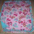 Blanket Pink Aqua Butterfly Hearts Fleece Baby Pet Lap Baby Girl Shower Gift