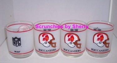 4 Tampa Bay Buccaneers Glass Mobil Collector Glasses Vintage Old Logo Orange