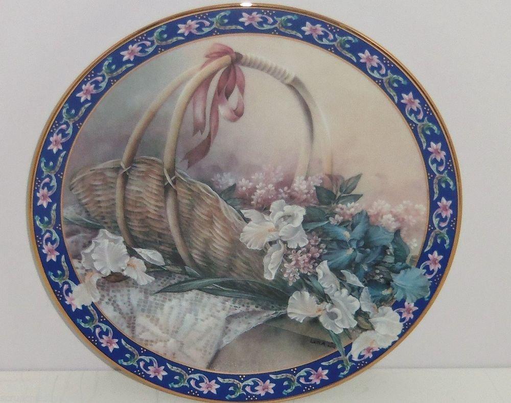 Irises Collector Plate Lena Liu Basket Bouquets Flower Floral Retired Vintage
