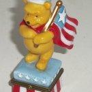 Disney Winnie the Pooh Porcelain Hinged Trinket Box July 4th Holiday