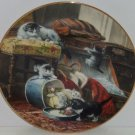 Victorian Cat Collector Plate Mischief Hatbox Playing Kittens George Renner Vtg