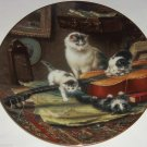 Victorian Cat Collector Plate String Quartet Guitar Kittens George Renner Vtg