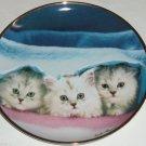 Cat Plate Kitty Peek a Boo Blanket Franklin Mint Retired Collectors Kiki Haynes