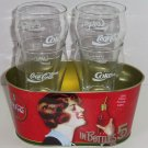4 Coca Cola Glasses Oval Tub Clear Glass Enjoy Coke in Bottles Tin