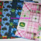 John DeereTractors Burp Cloths Pink Blue  Baby Girl Boy Shower Gift Choose Color