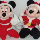 Disney Mickey Minnie Mouse Plush Santa Suit Rattle Christmas Baby Toy Stuffed