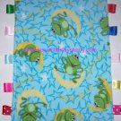 Frogs Moon Stars Ribbon Blanket Baby Boy Girl Fleece Soft Play Shower Gift