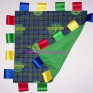 John Deere Ribbon Blanket Tag Green Blue Plaid Baby Toy Great Shower Gift