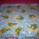 Frog Moon Stars Fleece Blanket Baby Pet Lap Hand Tied Green Blue Shower Gift