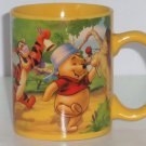 Disney Winnie Pooh Eeyore Piglet Tigger Yellow Coffee Mug Cup Hundred Acre Band