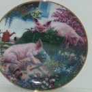 Pigs in Bloom Hogs Sqealbarrow Collector Plate Danbury Mint Pig Retired